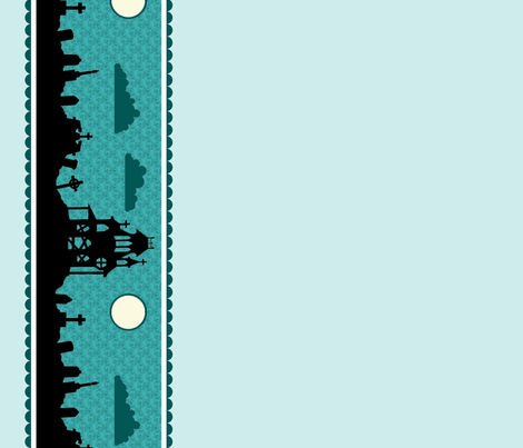 Graveyard Border in Teal-Mint fabric by charmcitycurios on Spoonflower - custom fabric