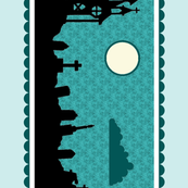 Graveyard Border in Teal-Mint