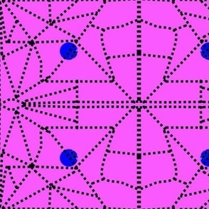 Magenta with blue dots