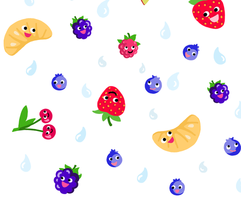Happy Fruit White XL fabric by johanna_lange_designs on Spoonflower - custom fabric