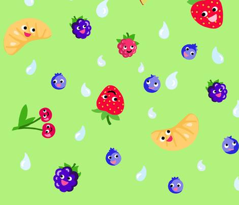 Happy Fruit Green XL fabric by johanna_lange_designs on Spoonflower - custom fabric