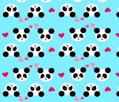 Panda Love Blue XL fabric by johanna_lange_designs on Spoonflower - custom fabric