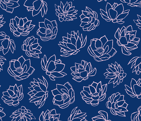 LOTUS  NAVY fabric by jara_by_jacki on Spoonflower - custom fabric