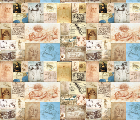 Leonardo Da Vinci Mosaic fabric by eieio687 on Spoonflower - custom fabric