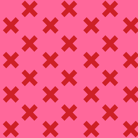 Medium Red Crosses on Pink fabric by little_fish on Spoonflower - custom fabric