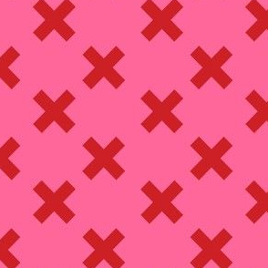 Medium Red Crosses on Pink