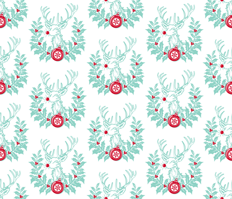 RUDOLPH CREST ~ White fabric by retrorudolphs on Spoonflower - custom fabric