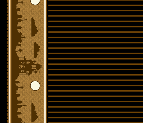 Graveyard Striped Border in Coffee fabric by charmcitycurios on Spoonflower - custom fabric