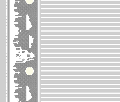Graveyard Striped Border in Light Gray