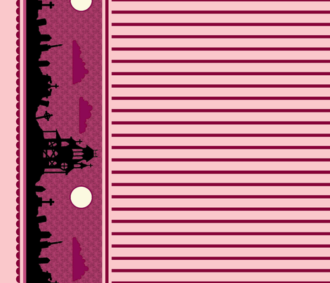 Graveyard Striped Border in Raspberry fabric by charmcitycurios on Spoonflower - custom fabric