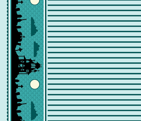 Graveyard Striped Border in Teal-Mint fabric by charmcitycurios on Spoonflower - custom fabric