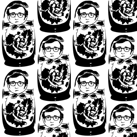 Woody Allen as Matroyshka fabric by alysnpunderland on Spoonflower - custom fabric