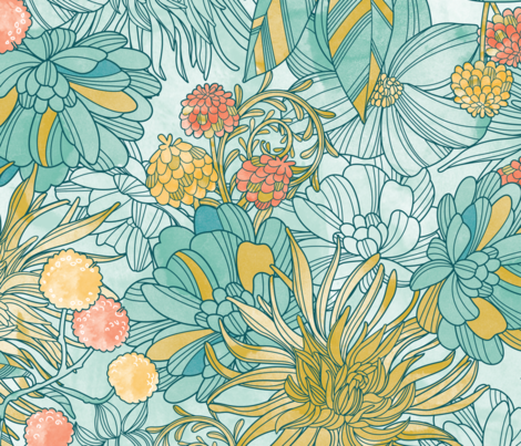 Garden at twilight (pale background) fabric by cjldesigns on Spoonflower - custom fabric