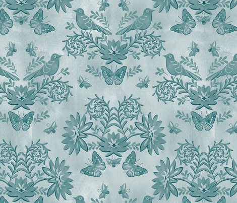 tonal damask dark blue fabric by cjldesigns on Spoonflower - custom fabric