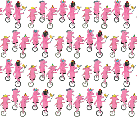 Unicycling Pigs fabric by els_vlieger_illustrations on Spoonflower - custom fabric