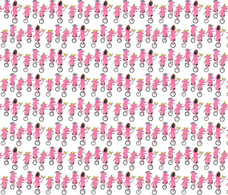 Unicycling Pigs fabric by els_vlieger on Spoonflower - custom fabric