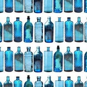 blue glass bottles small