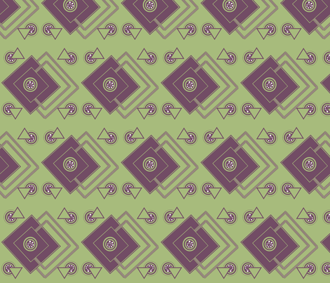 geometric_intricate_ purple,green, white fabric by anino on Spoonflower - custom fabric