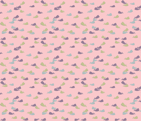 little whales in pink fabric by luluhoo on Spoonflower - custom fabric