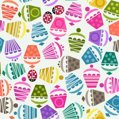 cupcakes and ladybugs fabric by scrummy on Spoonflower - custom fabric