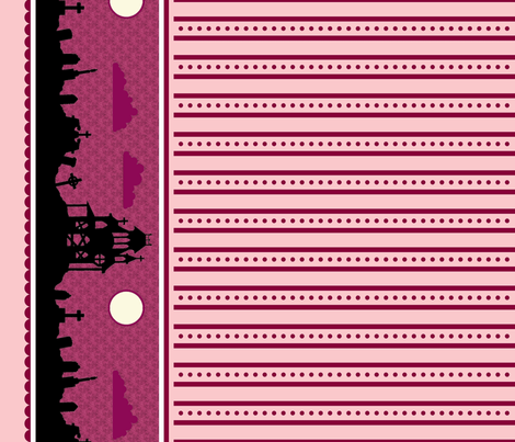Graveyard Dot-Striped Border in Raspberry fabric by charmcitycurios on Spoonflower - custom fabric