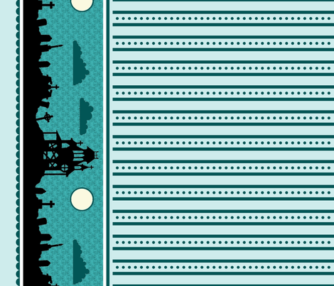 Graveyard Dot-Striped Border in Teal-Mint