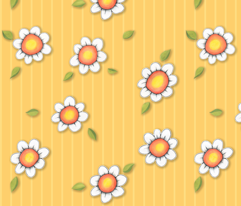 DaisyJoy on Yellow Stripes fabric by floating_lemons on Spoonflower - custom fabric