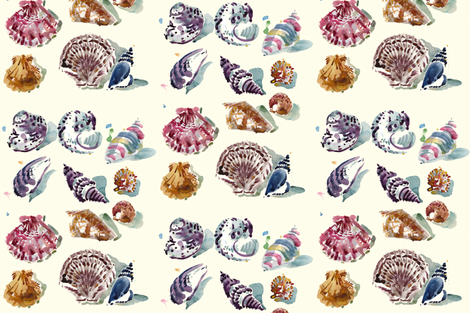cestlaviv_shells day fabric by cest_la_viv on Spoonflower - custom fabric