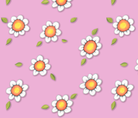Daisy Joy on Pink fabric by floating_lemons on Spoonflower - custom fabric