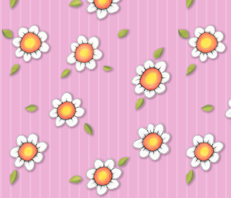 Daisy Joy on Pink Stripes fabric by floating_lemons on Spoonflower - custom fabric