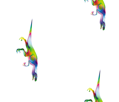 Psychedelic Raptor Border, L fabric by animotaxis on Spoonflower - custom fabric