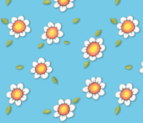 Daisy Joy on Blue fabric by floating_lemons on Spoonflower - custom fabric