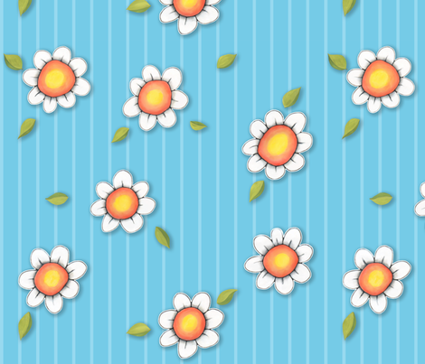 Daisy Joy on blue Stripes fabric by floating_lemons on Spoonflower - custom fabric