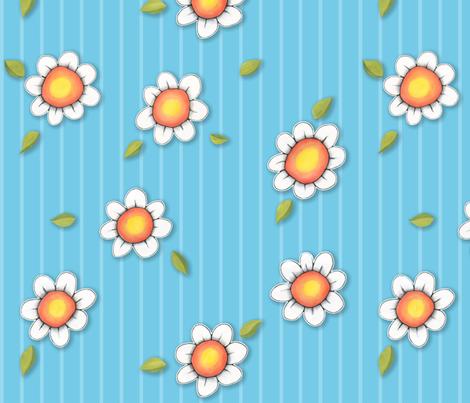Daisy Joy on blue Stripes fabric by floating_lemons on Spoonflower - custom fabric
