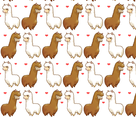 Llama Love fabric by sp4klefish on Spoonflower - custom fabric