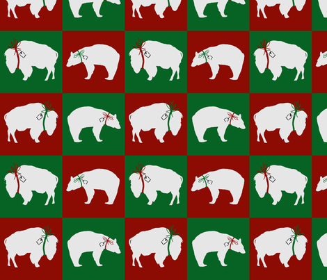 Big White Bear and Buffalo Squares fabric by fig+fence on Spoonflower - custom fabric