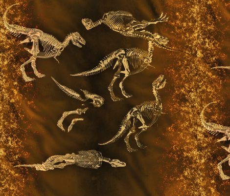 T-Rex Fossils, L fabric by animotaxis on Spoonflower - custom fabric