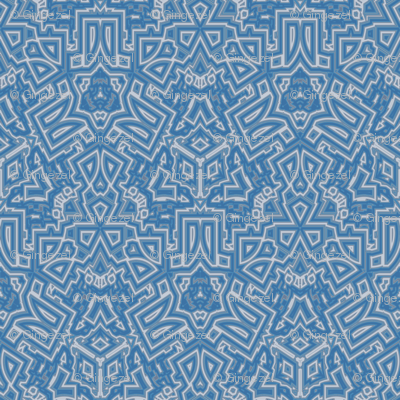 Ornate Blue Gray Geometric © Gingezel™ 2012