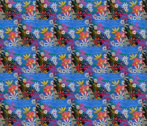 When Dinosaurs Invented Flowers half brick repeat fabric by anniedeb on Spoonflower - custom fabric