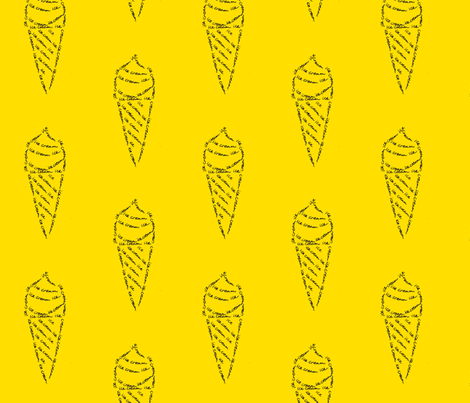 icecream calligram yellow fabric by blue_jacaranda on Spoonflower - custom fabric
