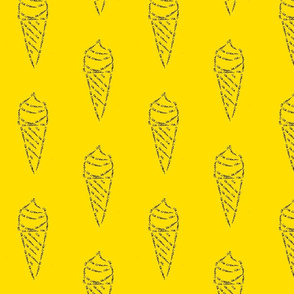 icecream calligram yellow