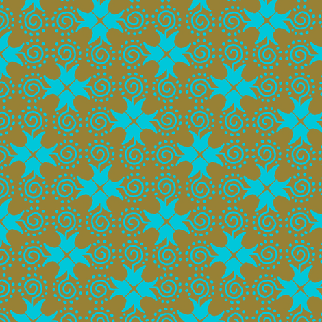 Doodle Cross - Gold and Blue fabric by siya on Spoonflower - custom fabric