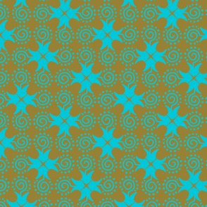 Doodle Cross - Gold and Blue
