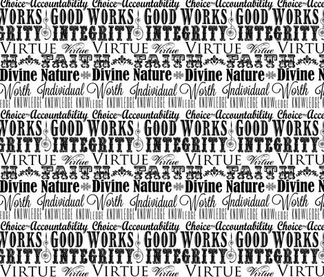 LDS Young Women Values Subway Art Fabric - Black and White fabric by hang_a_ribbon_on_the_moon on Spoonflower - custom fabric