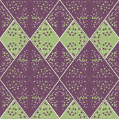 Diamonds in the Rough - Plum, Green and White Geometry