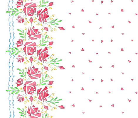 A Modish blushing rose border (if image doesn't appear, click on yard then smaller sizes) fabric by victorialasher on Spoonflower - custom fabric