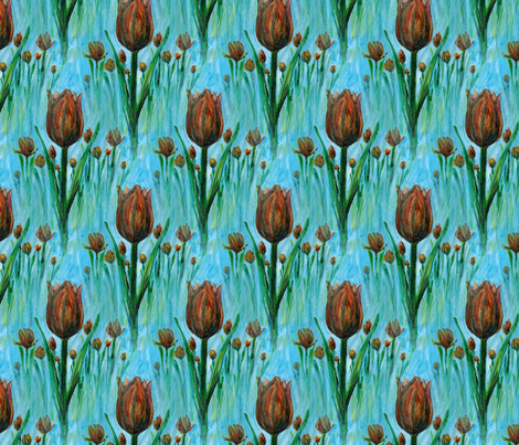painted_tulipes_field fabric by vinkeli on Spoonflower - custom fabric