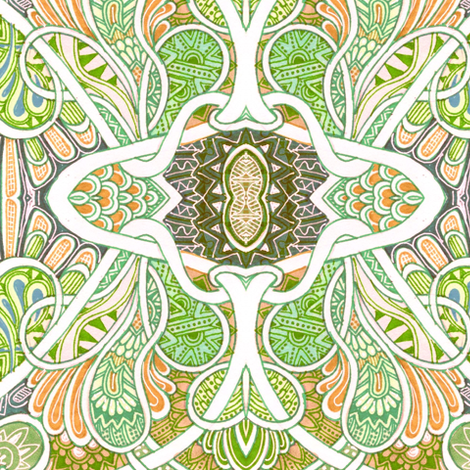 For Love of Paisley (big, soft orange/green) fabric by edsel2084 on Spoonflower - custom fabric