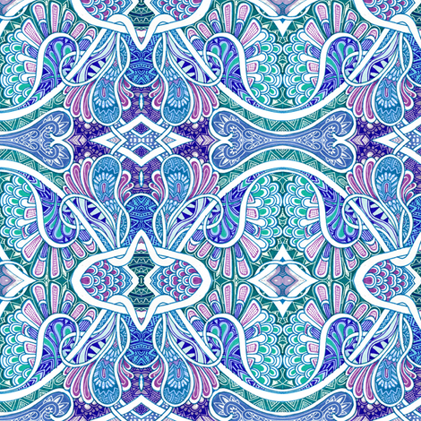 Paisley is my Favorite Drug (blues/raspberry) fabric by edsel2084 on Spoonflower - custom fabric