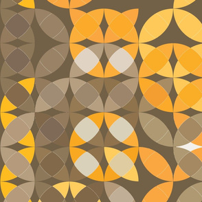 gray yellow and orange circles